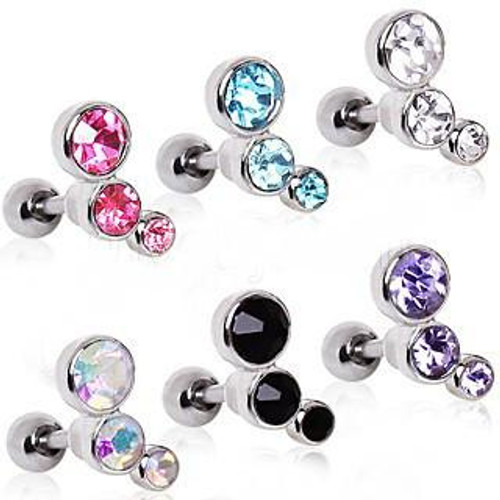 Beautiful 316L Surgical Steel Triple Round CZ Cartilage Earring