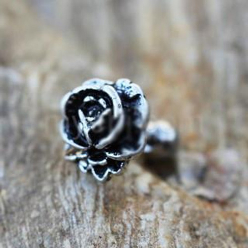 Antique Black Plating Rose Cartilage Earring / Cartilage Piercing Jewelry