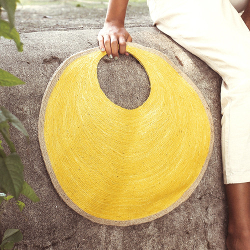 Stylish SOLO Natural and Citroen Yellow Jute Bag