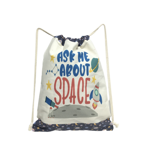 Ask Me About Space Drawstring Backpack