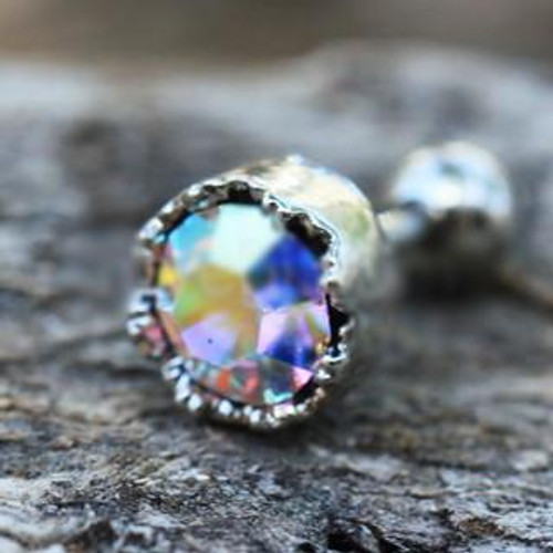 316L Stainless Steel Adorned Aurora Borealis CZ Cartilage Earring