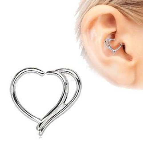 316L Stainless Steel Double Heart Annealed Cartilage Earring