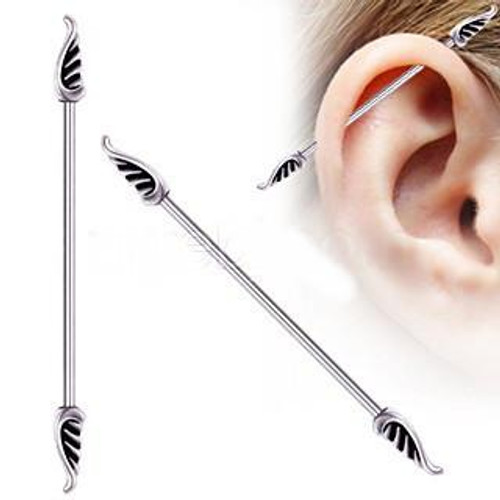 Classic Metallic Industrial Barbell with Wings