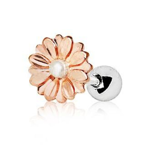 Rose Gold White Synthetic Sweat Pearl Daisy Cartilage Earring