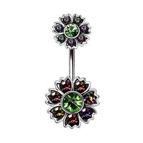 316L Unique Stainless Steel Iridescent CZ Flower Navel Ring