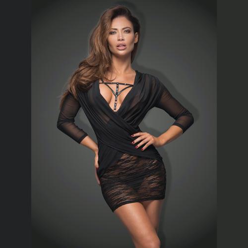 Sexy Little Black Sheer Dress Noir Handmade Flirty- Famous Latvian Made