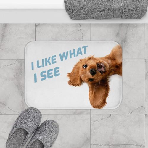 "24"" x 17"" Microfiber Funny Dog Looking Up Bath Mat"
