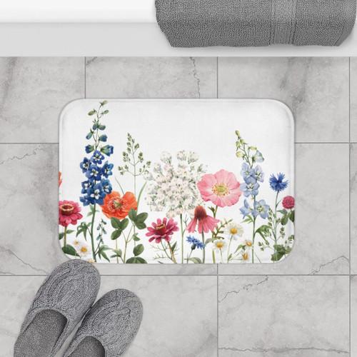 """24"""" x 17"""" Spring Floral Garden Bath Mat Decor Rug"""