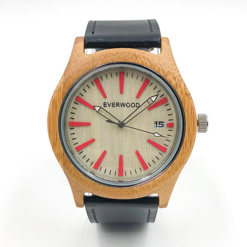 Eco-Friendly Kylemore Bamboo  Black Leather Watch