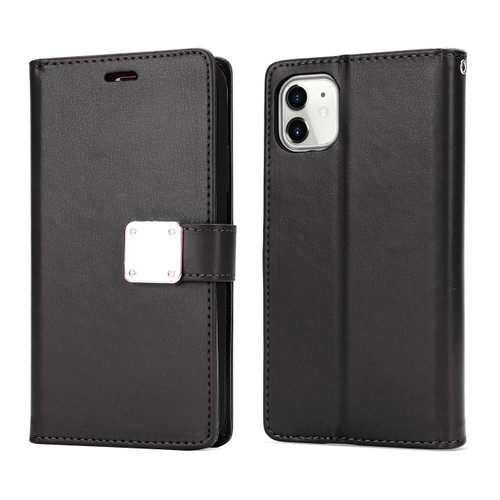 Multi Pockets Folio Flip Leather Wallet Case with Strap for iPhone 12PC9302