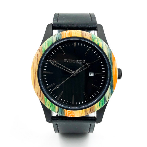 Inverness Multi Bamboo Black Leather Watch