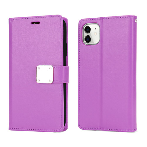 Multi Pockets Folio Flip Leather Wallet Case with Strap for i Phone 12