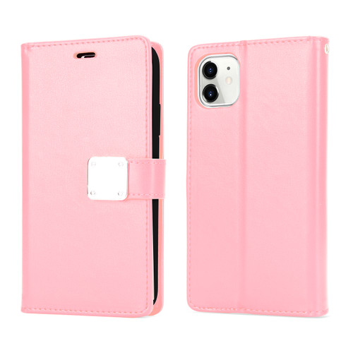 Multi Pockets Folio Flip Wallet Case with Strap for iPhone 12