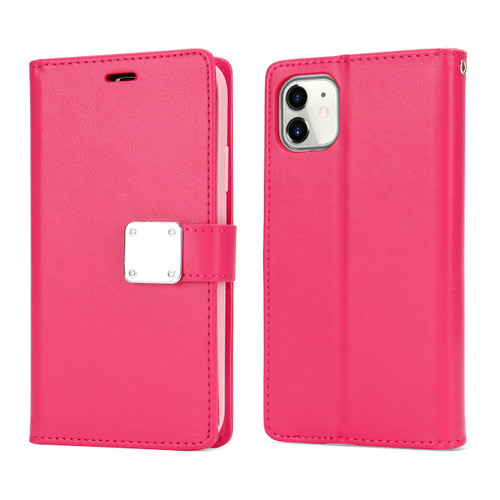 Multi Pockets- Folio Flip Leather Wallet Case with Strap for iPhone 12