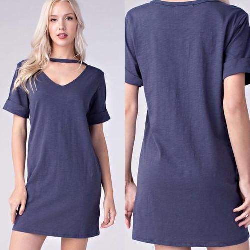Honey Punch Blue Stretchy Cotton Dress