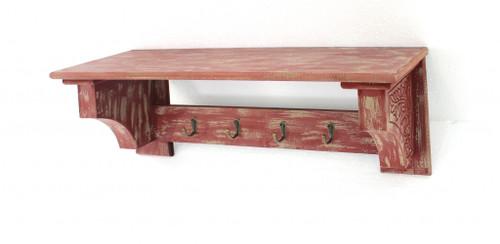 "8"" x 30"" x 9.75"" Red Vintage Wooden 4 Metal Hooks - Wall Shelf. 274518"