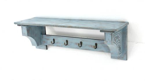 """8"""" x 30"""" x 9.75"""" Blue Vintage Wooden 4 Metal Hooks - Wall Shelf. 274519"""