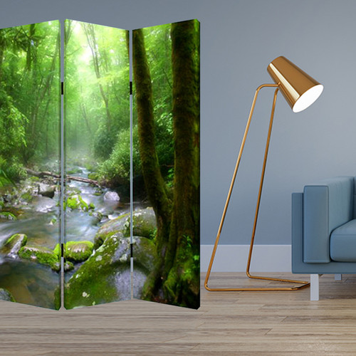 """1"""" x 48"""" x 72"""" Multi Color Wood Canvas Meadows And Streams  Screen. 274623"""