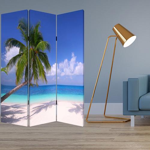 "1"" x 48"" x 72"" Multi Color Wood Canvas Paradise  Screen. 274857"