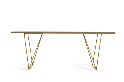 """30"""" Tobacco Veneer  MDF  and Antique Brass Dining Table. 283333"""