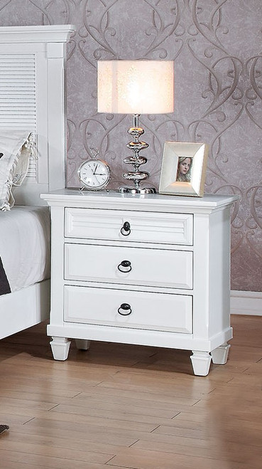 Nightstand , White - Poplar & Pine Wood, Wood  White. 285872