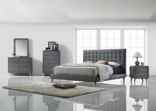 Nightstand , Light Gray Fabric. 285880