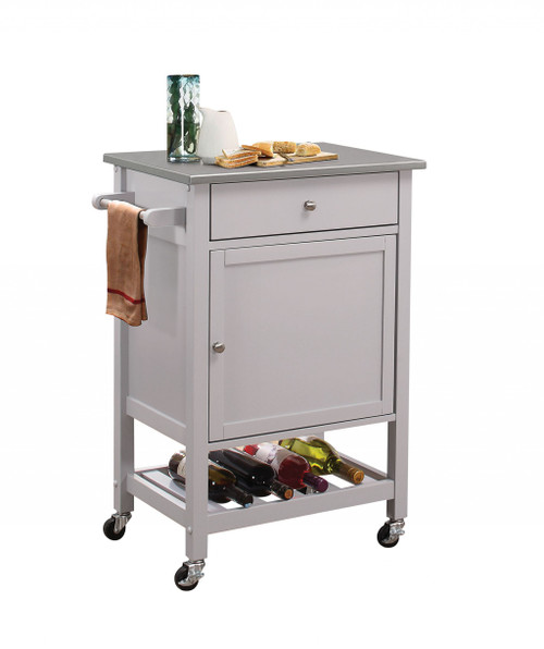 """25"""" X 17"""" X 34"""" Stainless Steel And Gray Kitchen Cart. 286671"""