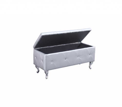 Silver Tufted Hard Wood Storage Bench. 302893