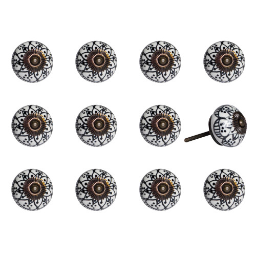 "1.5"" x 1.5"" x 1.5"" Black White Copper  Knobs 12 Pack. 321678"