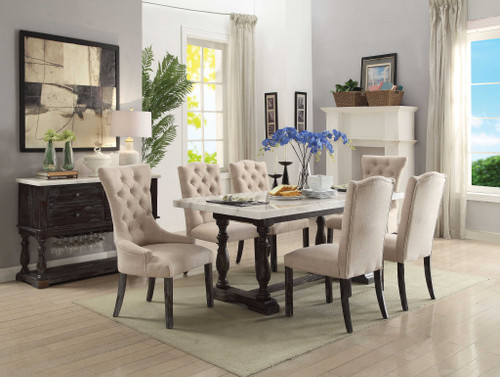 """38"""" X 72"""" X 31"""" White Marble Weathered Espresso Wood Dining Table. 347309"""