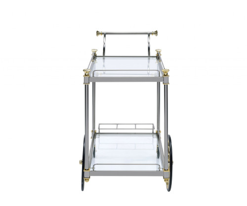 """20"""" X 31"""" X 31"""" Silver Gold Clear Glass Metal Casters Serving Cart. 347564"""