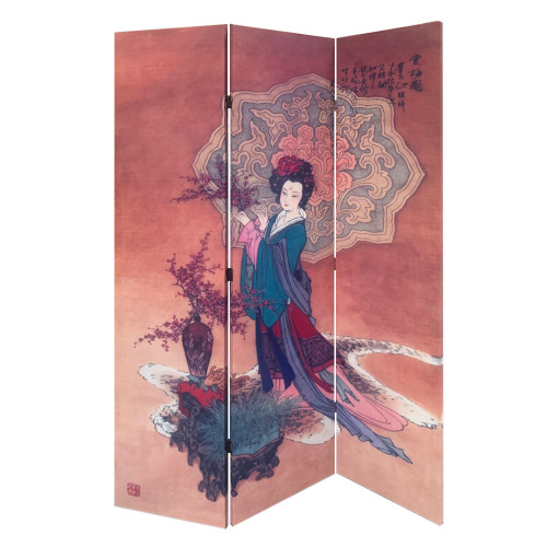 6' Asian Dynasty Canvas Room Divider Screen. 370394