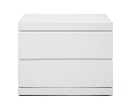 Modern White High Gloss Finish 2 Drawer Nightstand. 370736