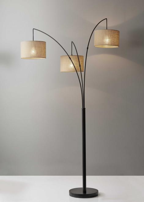 Three Light Bronze Metal Finish Arc Floor Lamp with Suspended Burlap Drum Shades. 372707