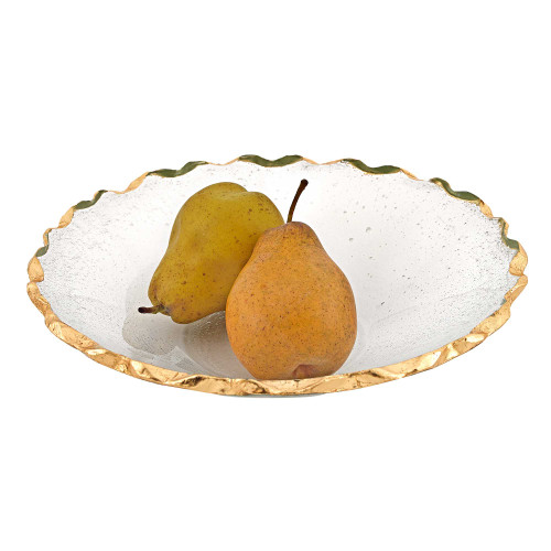 """11"""" Glass Straight Sided Edge Gold Salad or Fruit Bowl. 375750"""