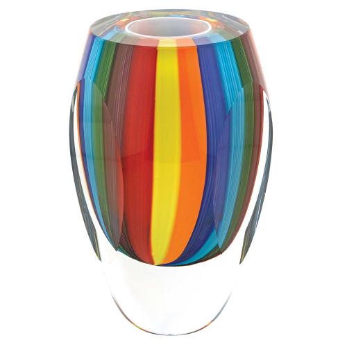 "6"" MultiColor Art Glass Vase. 375787"