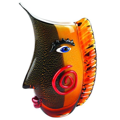 "9"" Multi Color Art Glass Side Face Vase. 375790"