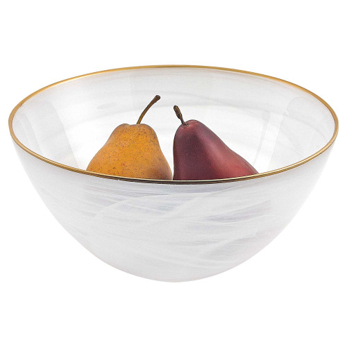 """10"""" Hand Crafted White Gold Glass Fruit or Salad Bowl With Gold Rim. 375867"""