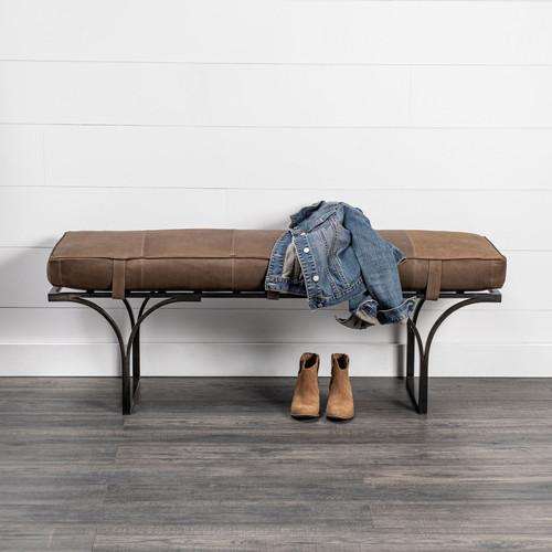 Rectangular Metal/Matte-Black Antiqued Brown Genuine Leather Seat Accent Bench. 376196