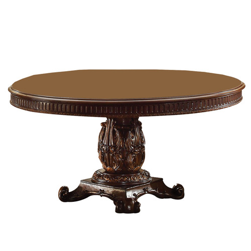 Round Wooden top Dining table with Single Carved Pedestal. 376942