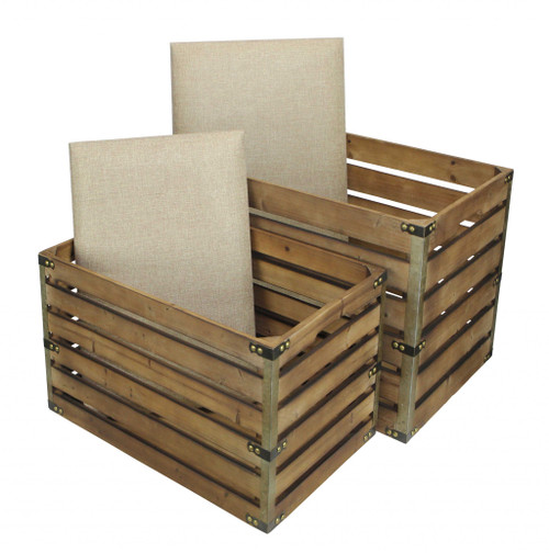 Set of 2 Rectangular Brown Linen Fabric and Wood Slats Storage Benches. 379835