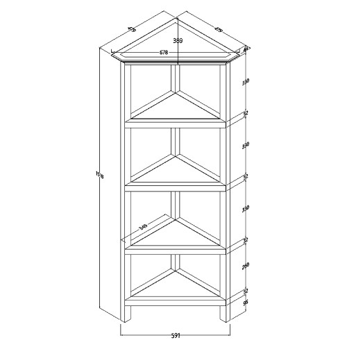 """60"""" Bookcase with 2 Shelves in Washed Grey. 379943"""