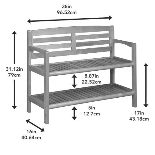 Chestnut Finish Solid Wood Slat Bench with High Back and Shelf. 380021