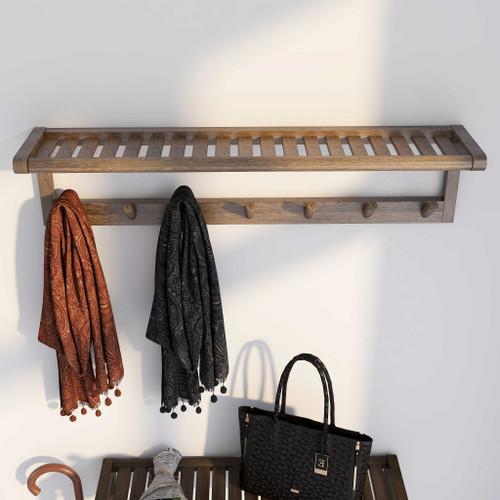 Wood Large Peg Coat or Towel Rack with Shelf in Antique Chestnut. 380045