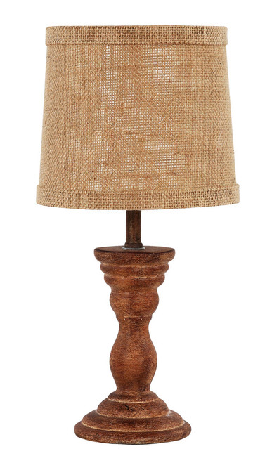 Classic Rustic Brown Accent Lamp with Neutral Shade. 380532