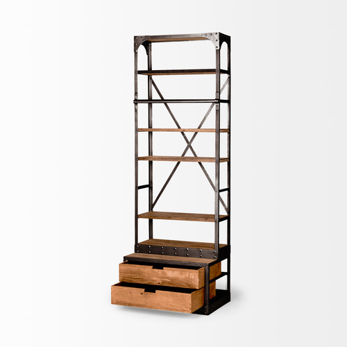 Medium Brown Wood Copper Accent Shelving Unit with 4 Shelves. 380586
