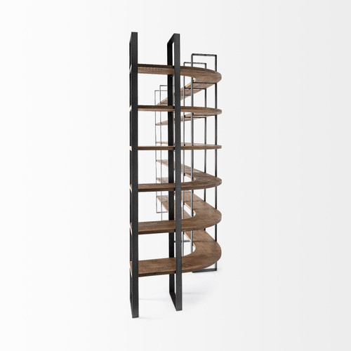 Curved Dark Brown Wood And Black Iron 6 Shelving Unit. 380588