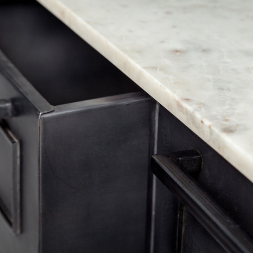 Solid Iron Black Body White Marble Top Kitchen Island with 4 Drawer. 380614