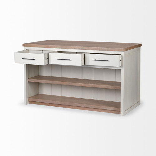 White and Brown Two Tone Wooden Kitchen Island with 3 Drawers. 380616