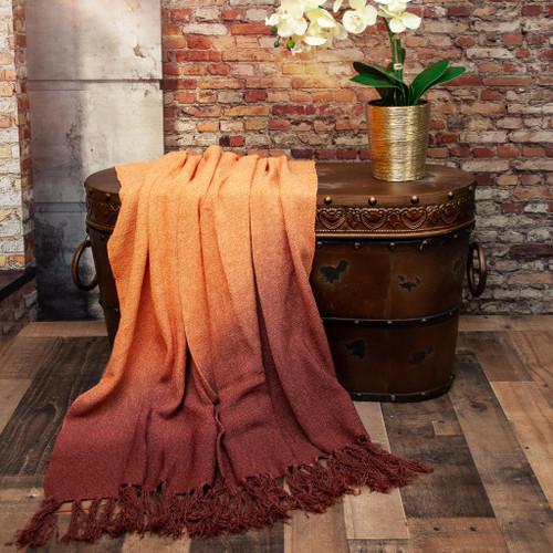 Orange Ombre Handloom Throw Blanket. 383168